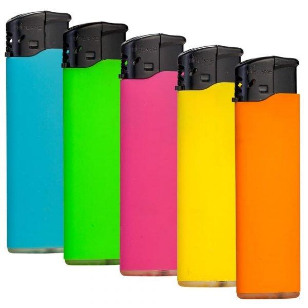 Lot de 5 briquets électroniques soft touch - colorés