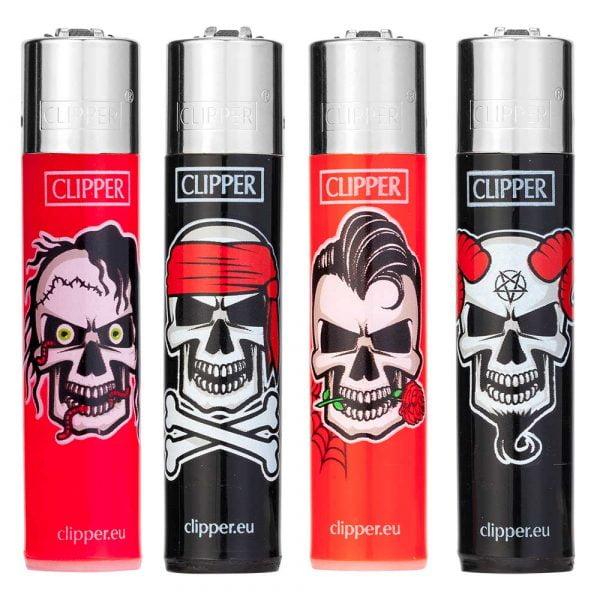Boite de 48 briquets Clipper Décorés - Horror skulls