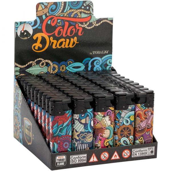 Boite de 50 briquets électroniques décorés - Color draw